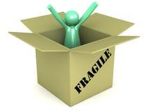Homem empacotado dos desenhos animados em uma caixa frágil da caixa Fotografia de Stock