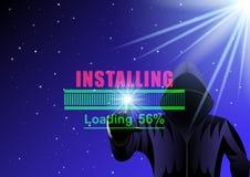 Homem encapu?ado, hacker e barra de carga em um fundo digital do c?u estrelado da noite ilustração royalty free