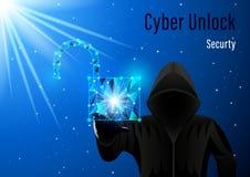 Homem encapu?ado, hacker e cadeado aberto em um fundo digital do c?u estrelado da noite ilustração do vetor