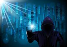 Homem encapu?ado, hacker em um fundo digital ilustração royalty free
