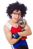 Homem engraçado após ter ganhado o copo do ouro Fotos de Stock Royalty Free