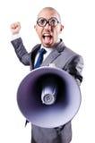 Homem engraçado com altifalante Imagens de Stock Royalty Free