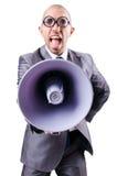 Homem engraçado com altifalante Fotografia de Stock
