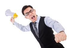 Homem engraçado com altifalante Fotos de Stock Royalty Free