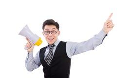 Homem engraçado com altifalante Foto de Stock