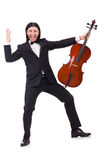 Homem engraçado com instrumento de música Imagens de Stock