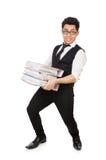 Homem engraçado com lotes dos dobradores Fotografia de Stock