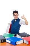Homem engraçado com lotes dos dobradores Imagem de Stock Royalty Free