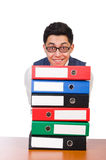 Homem engraçado com lotes dos dobradores Fotos de Stock