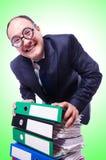 Homem engraçado com lotes dos dobradores Imagens de Stock