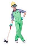 Homem engraçado com machado Fotografia de Stock