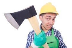 Homem engraçado com machado Fotos de Stock