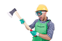 Homem engraçado com machado Imagem de Stock