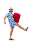 Homem engraçado com a mala de viagem isolada imagem de stock royalty free