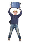 Homem engraçado com vestir da bagagem Imagem de Stock Royalty Free