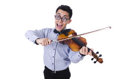 Homem engraçado com violino Fotografia de Stock