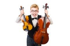 Homem engraçado com violino Fotografia de Stock Royalty Free