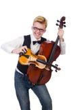 Homem engraçado com violino Imagens de Stock Royalty Free