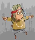Homem engraçado da hippie dos desenhos animados que salta na cidade Imagens de Stock Royalty Free