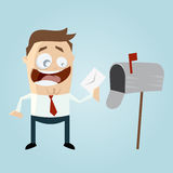 Homem engraçado dos desenhos animados com caixa de letra Imagem de Stock Royalty Free