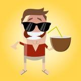 Homem engraçado dos desenhos animados com coco ilustração royalty free