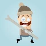 Homem engraçado dos desenhos animados com esqui Fotos de Stock Royalty Free