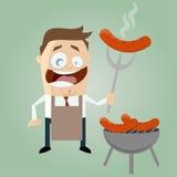 Homem engraçado dos desenhos animados com salsicha Fotografia de Stock Royalty Free