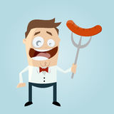 Homem engraçado dos desenhos animados com salsicha Fotos de Stock Royalty Free
