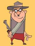 Homem engraçado dos desenhos animados com um chapéu e uma bainha em sua correia Fotos de Stock Royalty Free