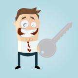 Homem engraçado dos desenhos animados com uma chave Imagens de Stock