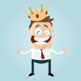 Homem engraçado dos desenhos animados com uma coroa Fotografia de Stock Royalty Free