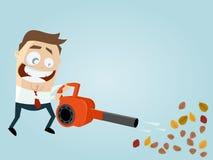 Homem engraçado dos desenhos animados com ventilador de folha Imagem de Stock Royalty Free