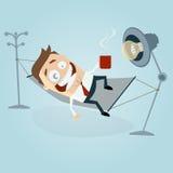 Homem engraçado dos desenhos animados na rede Imagens de Stock