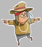 Homem engraçado dos desenhos animados no divertimento do chapéu Imagens de Stock Royalty Free