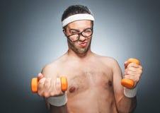 Homem engraçado dos esportes Fotos de Stock