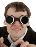 Homem engraçado em óculos de proteção da soldadura Foto de Stock Royalty Free