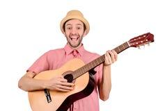 Homem engra?ado com guitarra imagens de stock