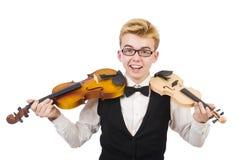 Homem engraçado com violino Imagem de Stock Royalty Free