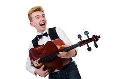 Homem engraçado com violino Fotos de Stock Royalty Free