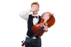 Homem engraçado com violino Imagens de Stock