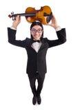 Homem engraçado com violino Fotos de Stock