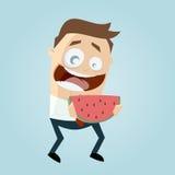 Homem engraçado dos desenhos animados que guarda um melão Fotos de Stock Royalty Free