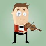 Homem engraçado dos desenhos animados que joga o violino Imagens de Stock