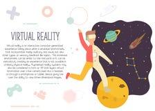 Homem entusiasmado no espaço de exploração da realidade virtual ilustração do vetor