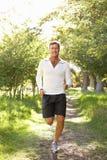 Homem envelhecido médio que movimenta-se no parque Fotografia de Stock Royalty Free