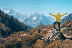 Homem ereto na pedra contra montanhas nevado imagens de stock royalty free