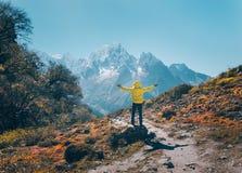 Homem ereto na pedra contra montanhas nevado Imagem de Stock Royalty Free