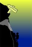Homem - escalando o monte ao sucesso Imagens de Stock Royalty Free