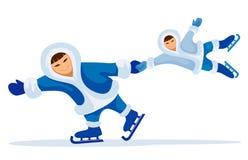 Homem eskimo de sorriso com criança ilustração stock