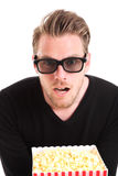 Homem espantado em 3D-glasses Fotografia de Stock